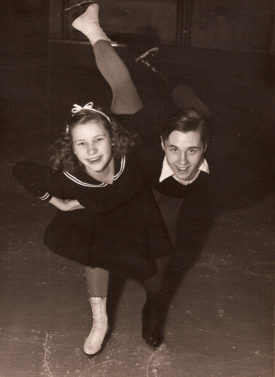 1942 US junior pairs champions, Eddie LeMaire and Dorothy Goos. Goos also won the junior ladies championship that year, but her Olympic dreams were shelved when the 1944 and 1948 Olympics were cancelled. She turned pro and became a star of Holiday on Ice.