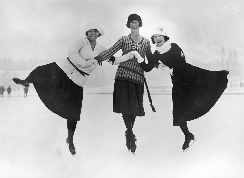 2-time Olympic medalist Beatrix Loughran is on the right. She also won US and World medals in pairs.