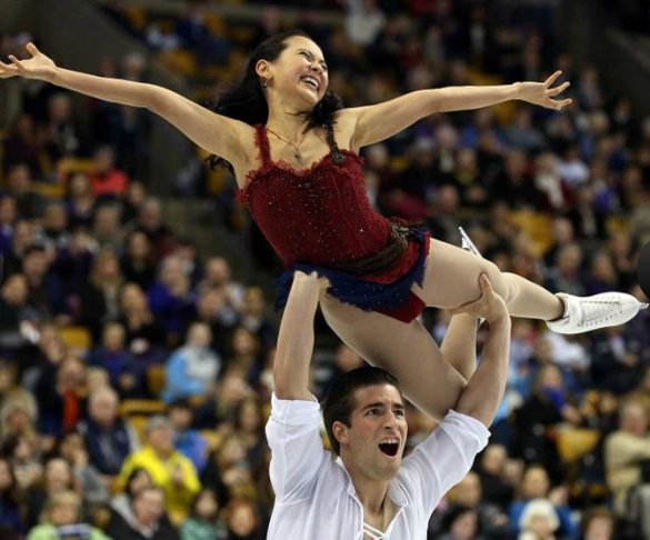Olympians and US pairs silver medalists Felicia Zhang (and Nathan Bartholomay) won silver at Nationals in 2014, bronze in 2013, and represented the US at the 2014 Winter Olympics.
